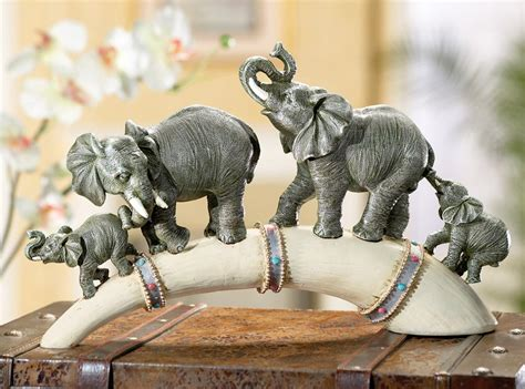 safari home decor wildlife elephant family parade across