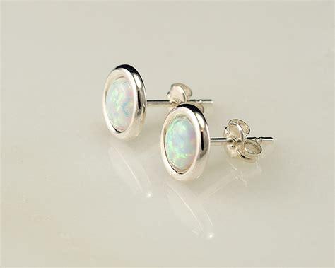 earring posts for jewelry opal earrings opal stud earrings october birthstone