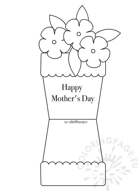 flower templates for card flower pot shape card coloring page