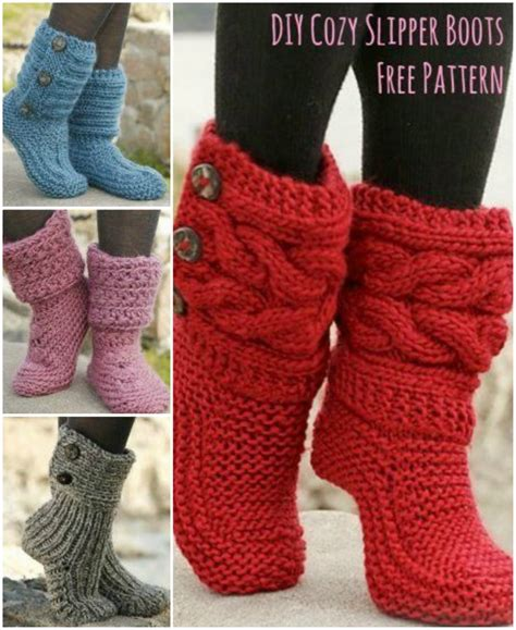 free knit slipper boot pattern knitted slipper boots the whoot