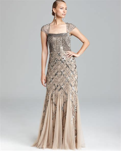 beaded cap sleeve gown papell cap sleeve beaded dress square neck in