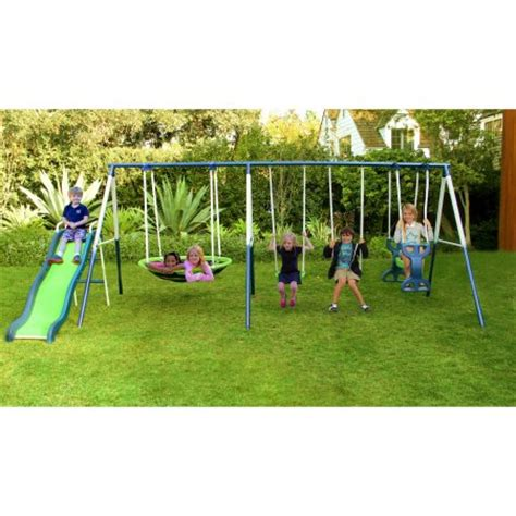 metal set sportspower outdoor rosemead metal swing and slide set