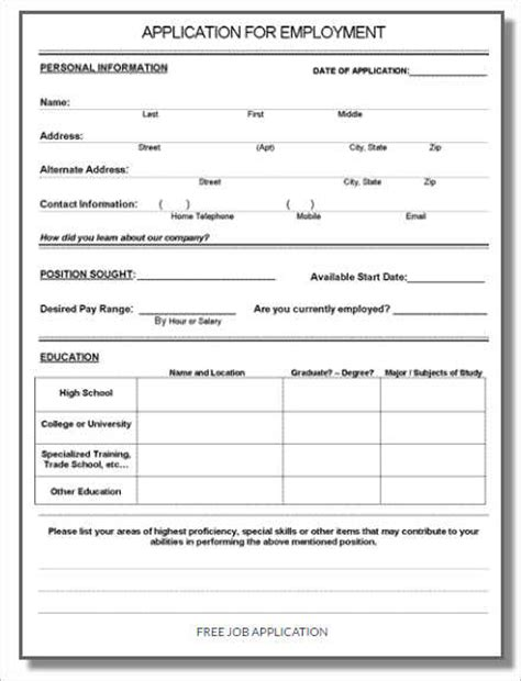 forms templates word 190 job application form sample example format