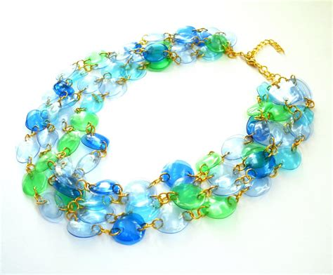 plastic bottle jewelry statement necklace handmade of recycled plastic bottles in