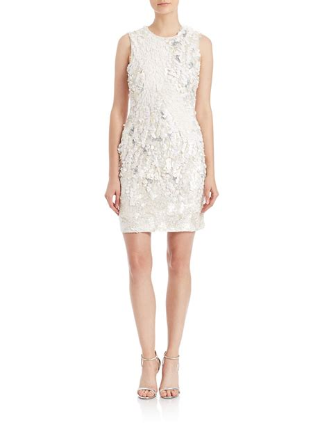beaded white dress connection beaded sequin sheath dress in white lyst