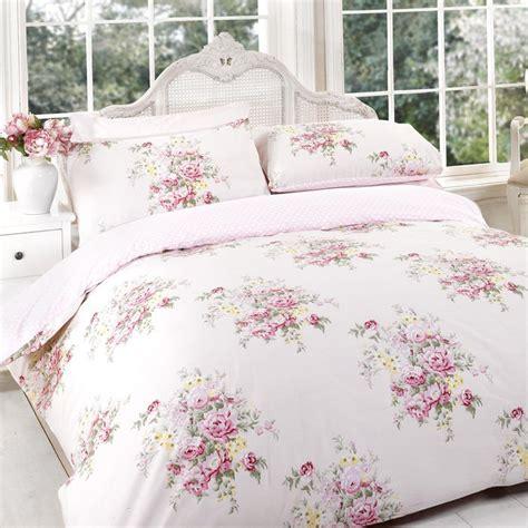 duvet cover set vintage shabby chic floral pink reversible