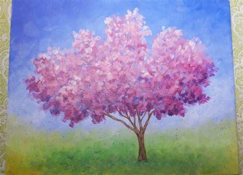 acrylic painting cherry blossom impressionist cherry blossom tree live acrylic painting