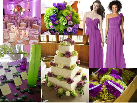 purple and green decorations lime green and purple wedding decorations