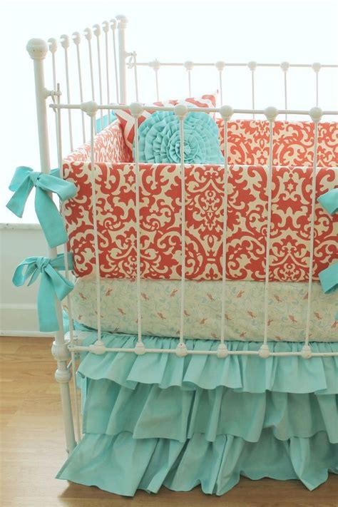 coral color crib bedding coral crib bedding coral aqua damask ruffles 3 sert