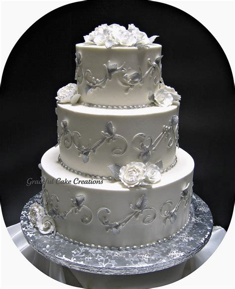 silver and white silver and white wedding cake grace tari flickr