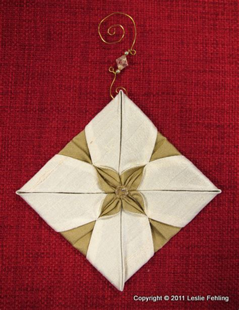 origami ornaments patterns folded fabric tree pattern