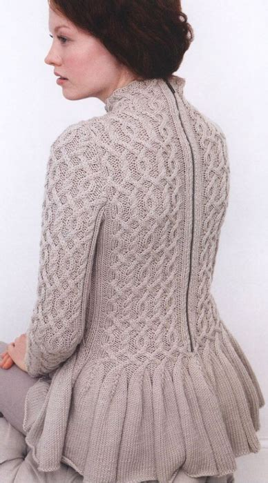 Cabled Peplum Sweater Knitting Knitting Free