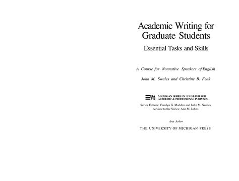 academic writing for graduate students essential tasks and skills academic writing for graduate students essential tasks and