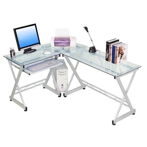 l shaped computer desk techni mobili dachia l shape glass top computer desk rta 3802 gls