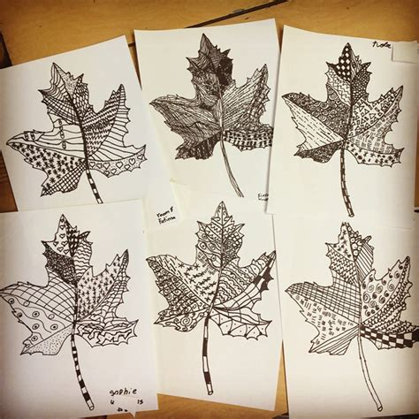 drawing crafts for zentangle leaves projects for