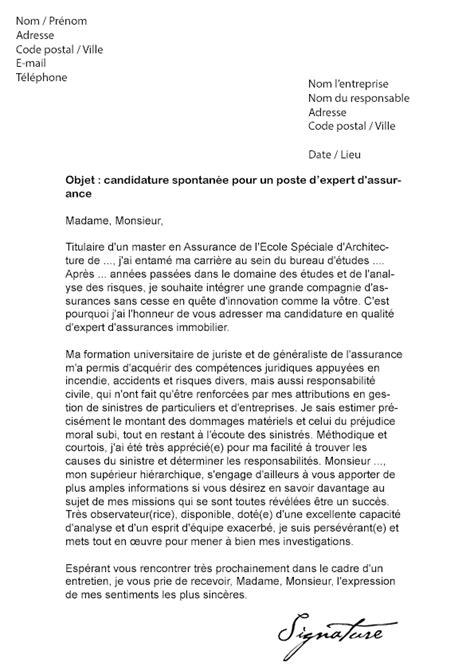 lettre de motivation expert d assurances mod 232 le de lettre