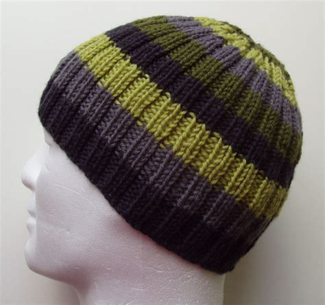 how to knit a beanie with needles knitting pattern finn mans striped ribbed hat knit