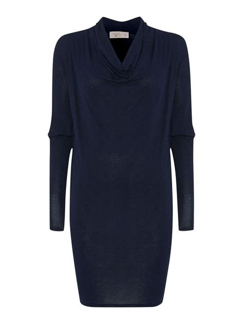 jersey knit dress label lab jersey knit cowl sleeve dress in blue lyst