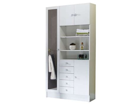 armoire de salle de bain 1 miroir 4 portes 5 tiroirs weni coloris blanc vente de armoire