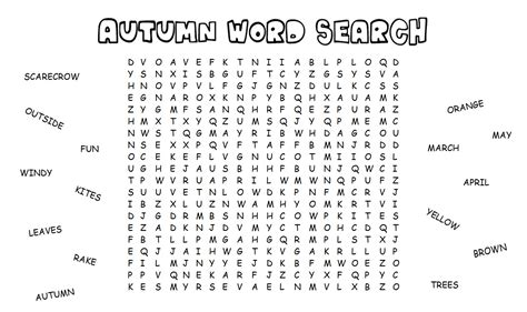 word finder fall word search for brain activity shelter