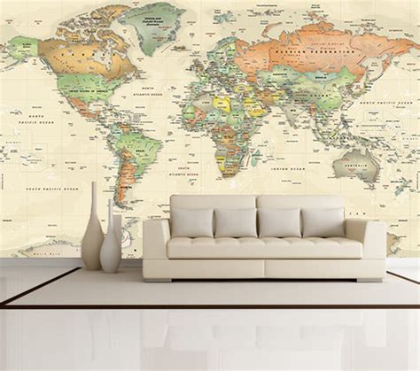 World Wall Map Mural antique oceans world political map wall mural miller