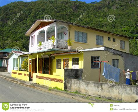 typical home typical house architecture soufriere st lucia stock image