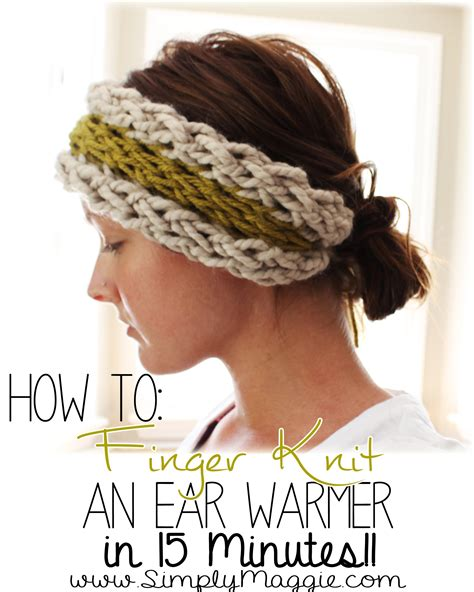 what can you knit diy 15 minute finger knit ear warmer simplymaggie