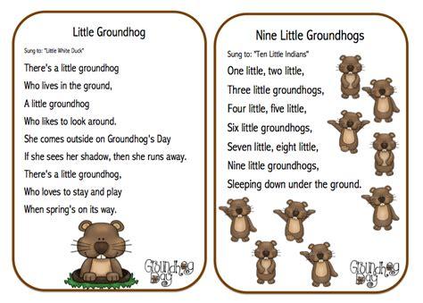 groundhog day day one lyrics preschool printables groundhog day songs poems and