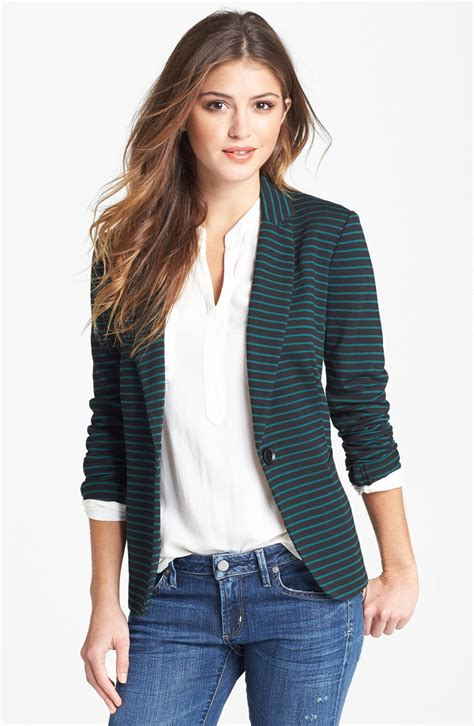 knitted blazers moon knit blazer in black black green bug stripe