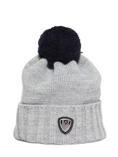 grey knit hat emporio armani knit beanie hat with pompom in gray for