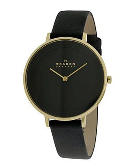 womens watches leather band skagen s leather black and gold with a leather black band drestfinds drestmaker