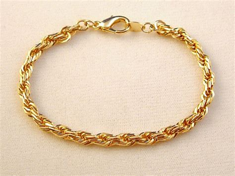 jewelry bracelets gold finish twisted rope chain bracelet anti allergic jewelry