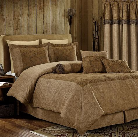 brown comforter set king 7pcs oversized microsuede brown paisley embossed comforter