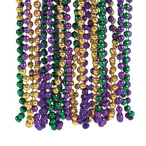mardi gras bead tri color mardi gras trading