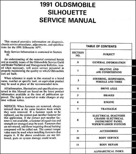 car repair manuals download 1993 oldsmobile silhouette spare parts catalogs service manual 1993 oldsmobile silhouette workshop manual download 1993 oldsmobile cutlass
