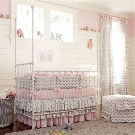 beautiful baby crib bedding pink and gray chevron crib bedding carousel designs