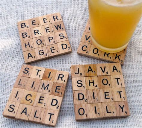 scrabble out totally diyable scrabble tile coasters 187 curbly diy