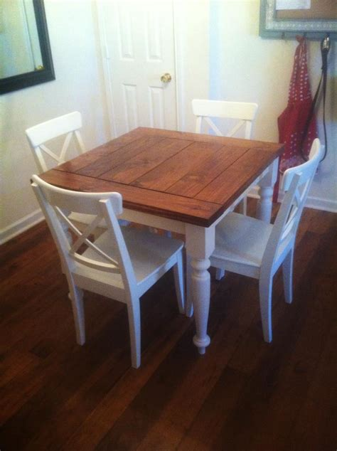 diy small kitchen table white square turned leg farmhouse kitchen table