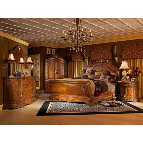 AICO Michael Amini 5pc Cortina King Size Sleigh Bedroom Set in Honey Walnut Finish for $9,053.00