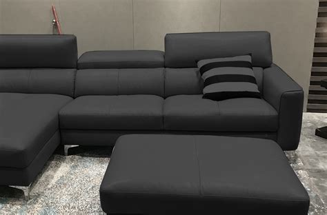canap 233 d angle en cuir buffle italien de luxe 5 places armano noir angle gauche mobilier priv 233