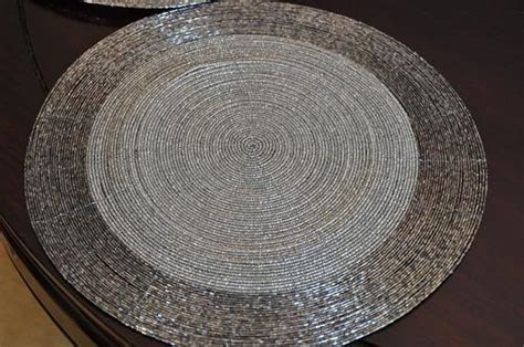 silver beaded place mats other dining room living room silver gunmetal beaded