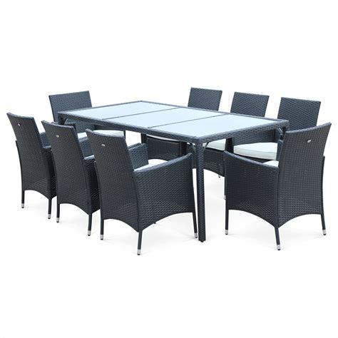 salon de jardin parma table et 8 fauteuils en r 233 sine tress 233 e