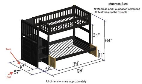 dimensions of bunk beds discovery world furniture espresso