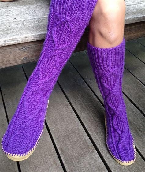 knitted slipper socks slipper socks and boots knitting patterns in the loop