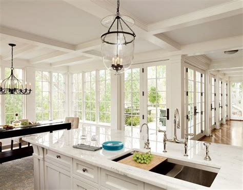 bright kitchen lights add personality to your interior with a coffered ceiling