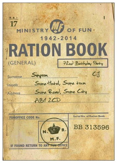 pictures of ration books ration book printed invitation in the style of a ration