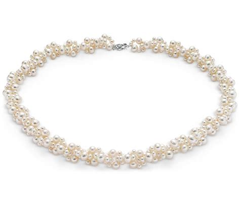 pearls jewelry freshwater cultured pearl cluster necklace with 14k white