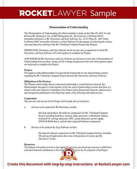 memorandum of understanding form mou template with sample
