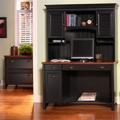 computer desk with cabinets stanford 48 quot computer desk set in antique black and hansen