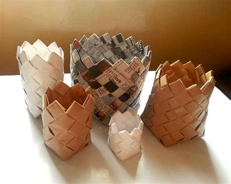 paper crafts recycled newspaper recycled paper baskets make it your library